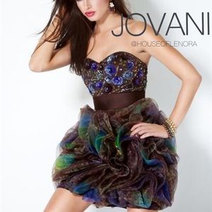 NWT JOVANI Brown and Green Formal Dress 17157A